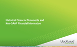 Historical Financial Statements and Non-GAAP Financial Information