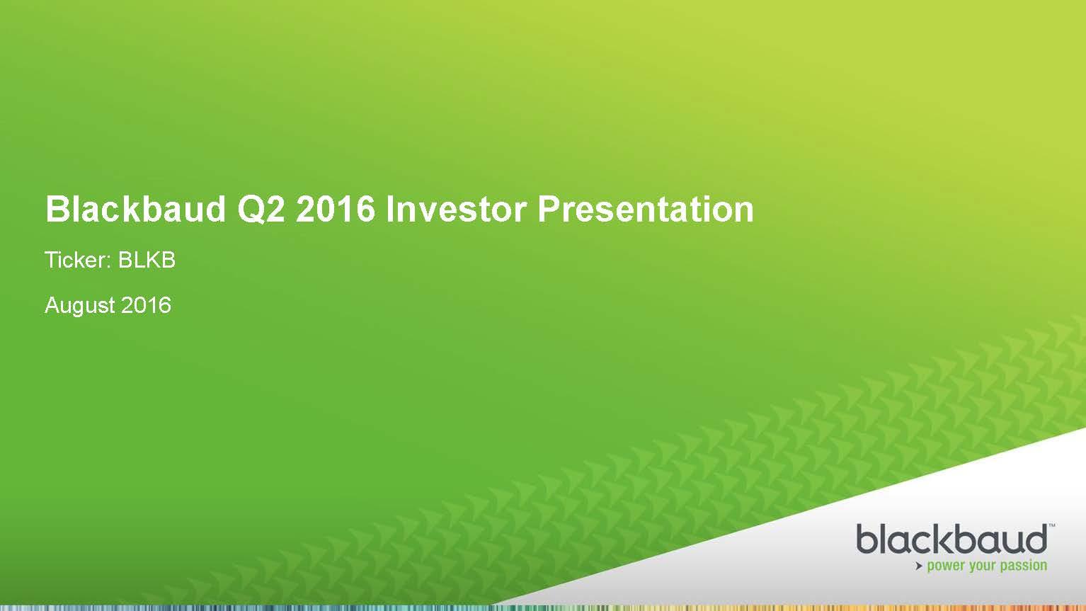 Blackbaud Investor Presentation