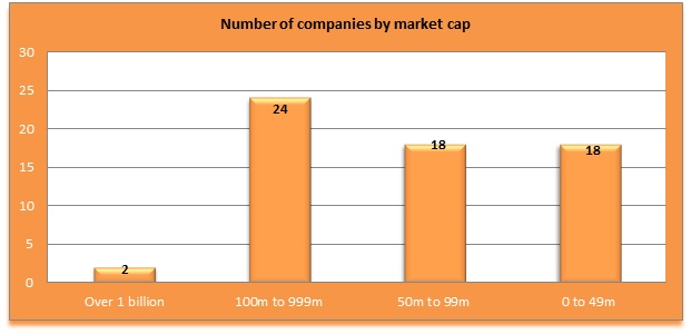 Distribution of companies by market cap (16 Aug '12)