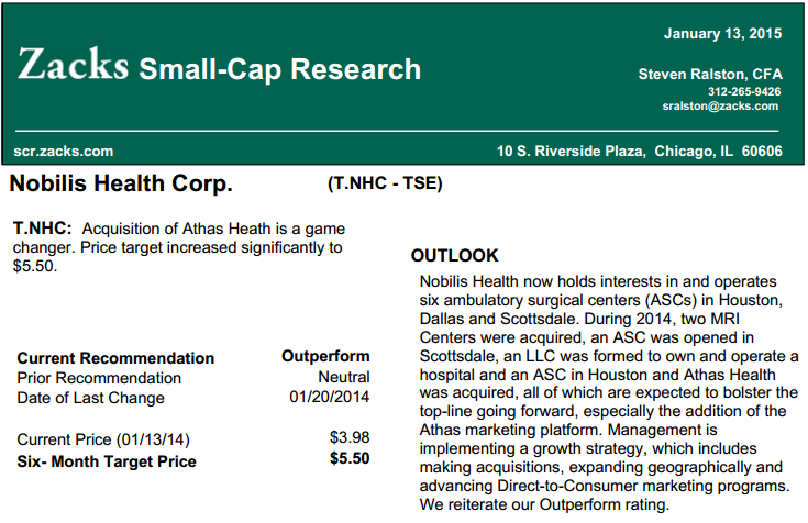 Zacks Small-Cap Reasearch's report on Nobilis Health