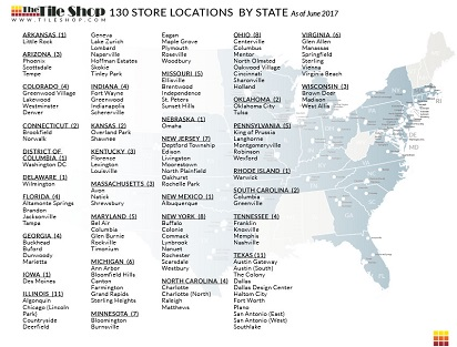 Description of 130 Tile Shop Store Locations by state