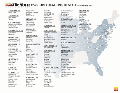 Description of 124 Tile Shop Store Locations by state