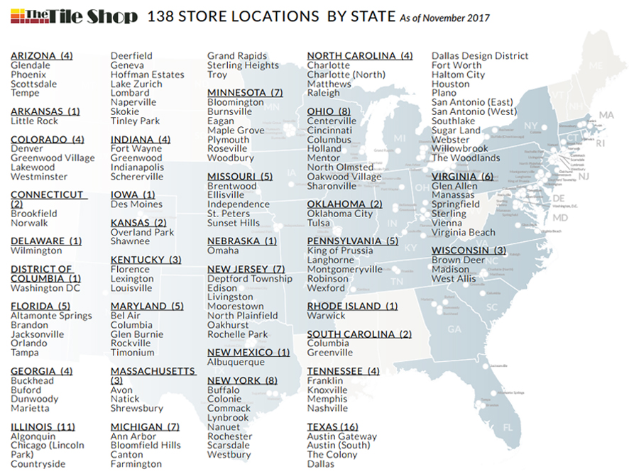 Description of 134 Tile Shop Store Locations by state