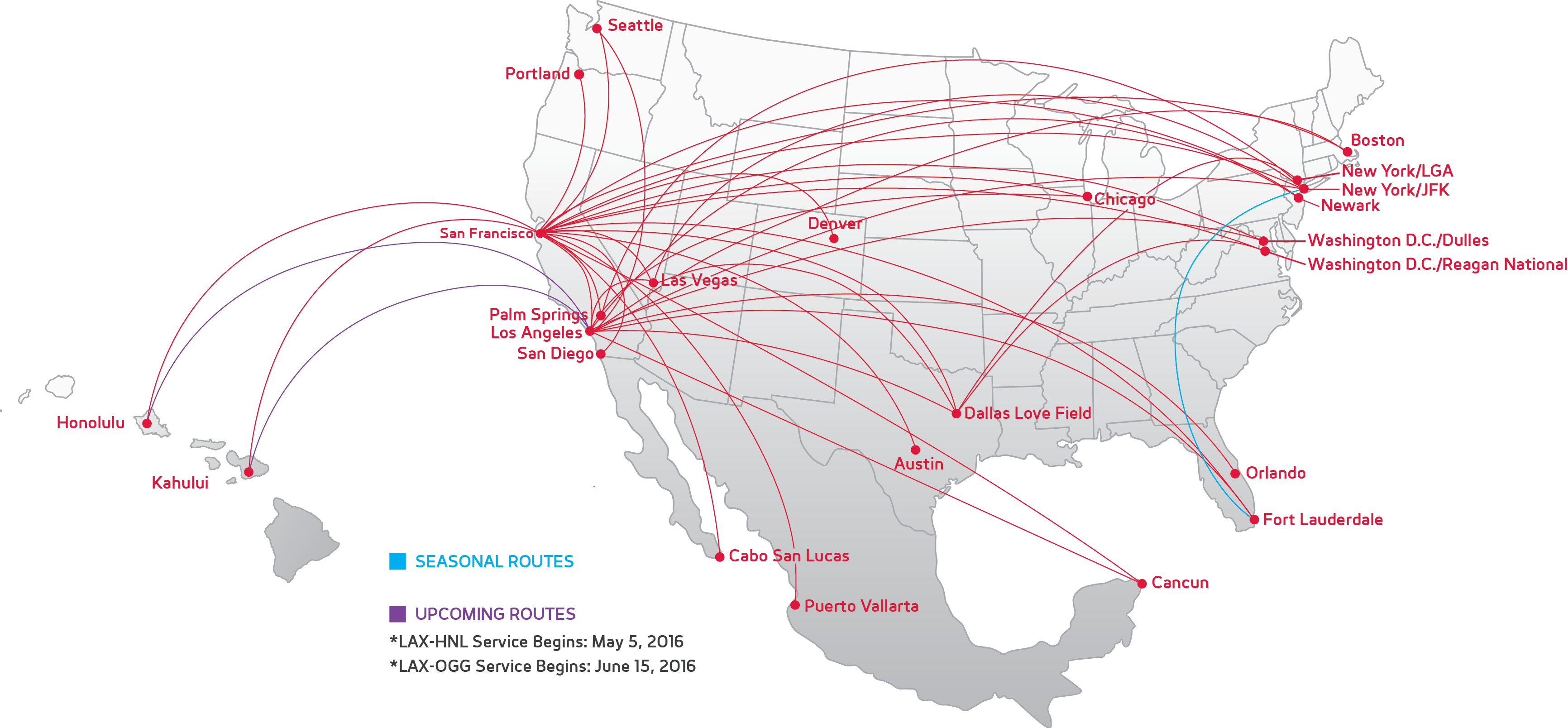 Virgin America Network Map - Network map page