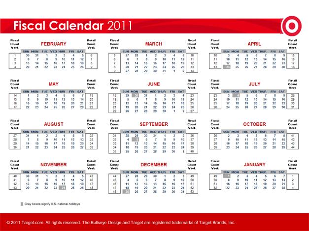 Fiscal Calendar 2011