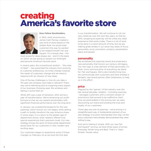 j c penney creating americas favorite store essay In 2012, jc penney rebranded itself by making the announcement that it wanted to become america's favorite store by creating a specialty department store experience (jcp, 2013) founder james cash penney began the company with a golden rule: treat others the way you want to be treated fair and square (jcp, nd.