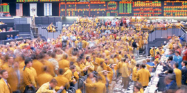 The DuPont (DD) stock page uses a photo of an active Chicago Mercantile Exchange to symbolize economic activity. Note that DD is listed on the New York Stock Exchange.