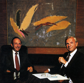Richard Bloch, at left, with Henry Bloch, in 1982