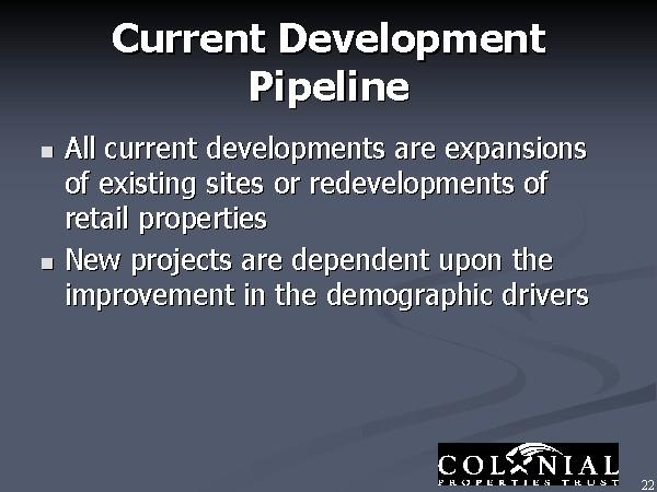 Current Development Pipeline