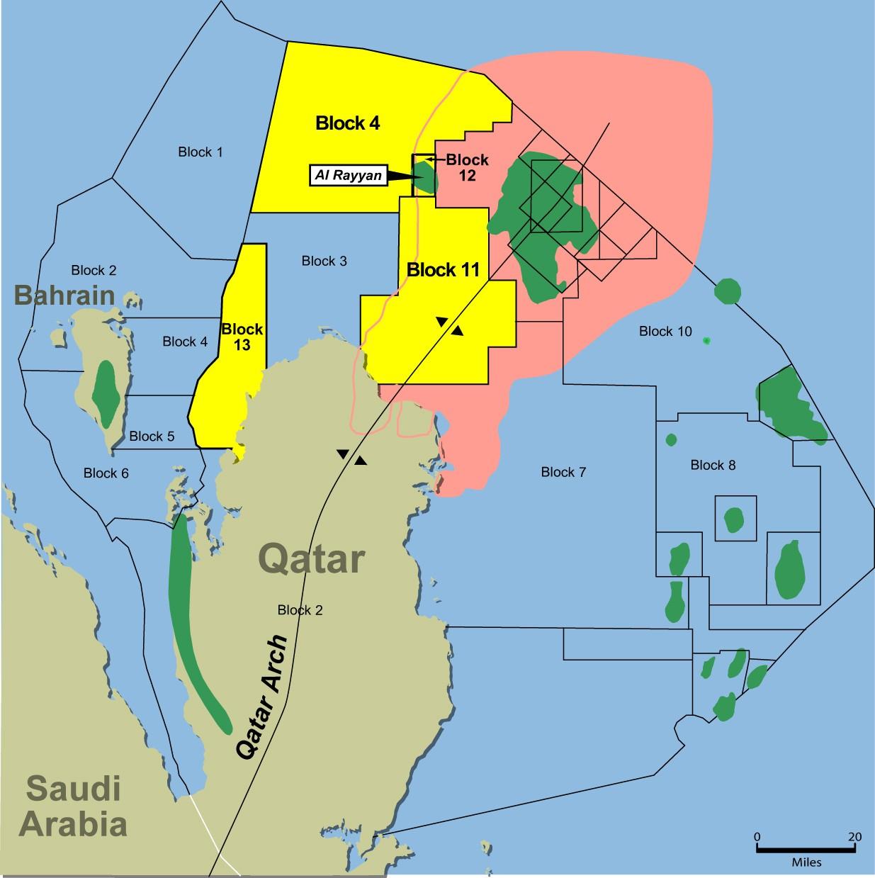 カタールの油田に関する資料地図